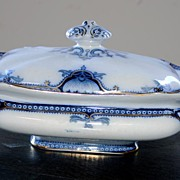 REDUCED 19th century - Blue & gold porcelain tureen by Hamilton