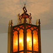 REDUCED 1920 - Pair of English Gothic style lanterns with mica panels