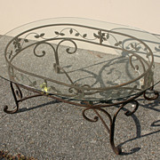 Wrought iron & glass oval table