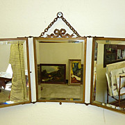 REDUCED 19th century French triptych mirror