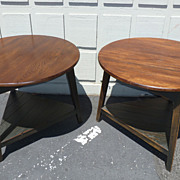 REDUCED Pair of oak circular plank tables