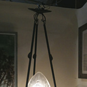 French Art Deco wrought iron and glass chandelier