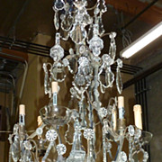 19th century French crystal chandelier, electrified, 6 lights