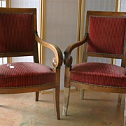 REDUCED 19th century - Pair of French Restauration armchairs
