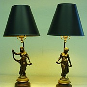REDUCED 20th century - Pair of French metal figural lamps