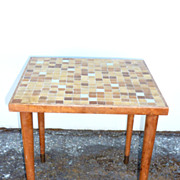 REDUCED Mid-century glass tile side table