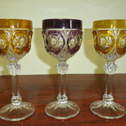 Set of 3 unusual Continental colored wine glass