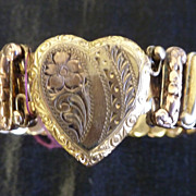 Gold and pink 14K gold plated heart bracelet