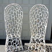 SALE Pair of custom made horse-shoe garden chairs