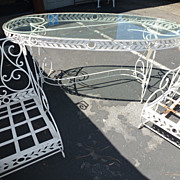 REDUCED Three pieces French iron garden set