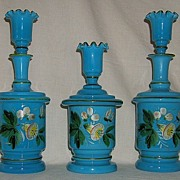 3 Piece Blue Bristol Dresser/Toilette Set with Enamel Decoration
