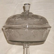 Large Flamingo Habitat Covered Compote � Hobbs, Brockunier & Co. - Ca 1880