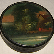 Papier-mch Snuff  Box With Landscape Painting on Lid  Mid-1800s