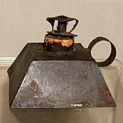 Small Pyramid Shaped Tin Whale Oil or Lard Oil Lamp with Handle