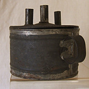 Early Tin Three Tube Lard Oil/Whale Oil Finger Lamp