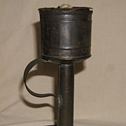 Early Tin Lard Oil or Grease Lamp  American  Ca. 1820