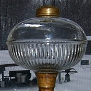 Oil Lamp With Cast Iron Base and Pattern Glass Font