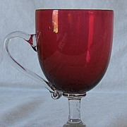 Blown Footed Cranberry Punch Glass with  Applied Handle