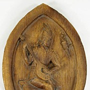 Vintage Carved Wood Wall Plaque Minstrel Troubadour