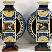 Antique Wilhelm Schiller Bohemia Majolica Pottery Moon Flask Vases Egyptian Revival