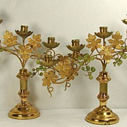 Antique Brass & Glass Grapes Candleholder Pair