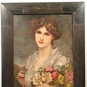 Antique Litho Lithograph Print of a Pretty Lady with Flowers
