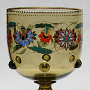 Antique Bohemian Theresienthal Glass Art Nouveau Floral Goblet
