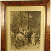 Antique Cavaliers at the Inn Remarque Etching Print
