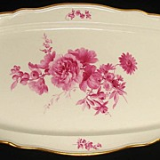 Antique Meissen Porcelain Fish Platter Pink Floral Pattern 22""