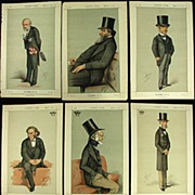 Antique 1871 Vanity Fair Print x 8 Politicians Sgnd APE