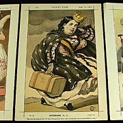 Antique Vanity Fair Prints x 3 Royalty 1869 - 71 by Coide