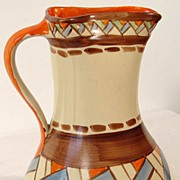 Vintage 1930s Art Deco Myott Hand Painted Pottery Pitcher