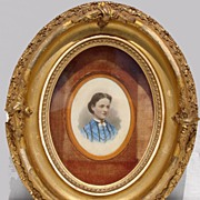 Antique 19th c Civil War Period Portrait Painting of a Lady