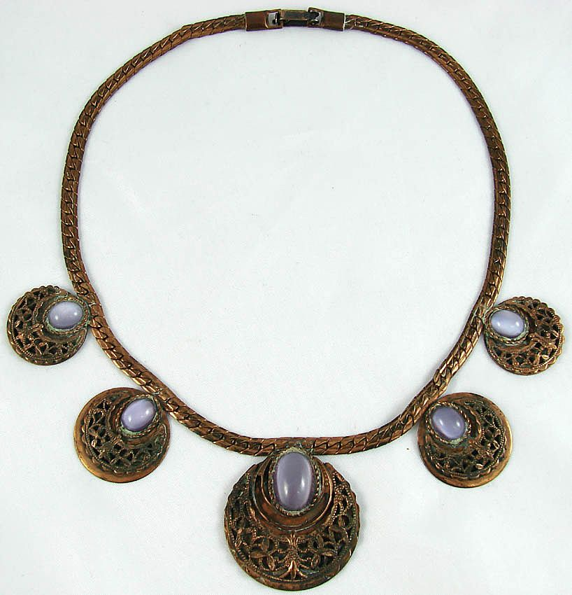 Vintage 1950s Roslyn Hoffman Necklace // Copper Disc