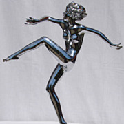 SOLD Vintage 1930s Ronson Art Deco Dancing Girl Chrome Statue