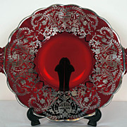 Vintage New Martinsville Elegant Ruby Red Glass Plate - Sterling Overlay - Janice Pattern