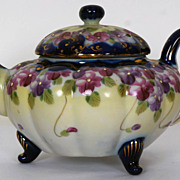 Nippon Porcelain Teapot Hand Painted Violets Flow Blue 16 oz