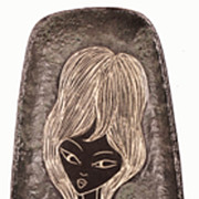 Vintage Italian Lava Pottery Mod 60s Girl Wall Plaque Oblong Dish