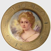 Antique Royal Vienna Porcelain Portrait Plate signed F Tenner