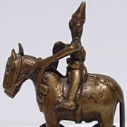 SOLD Antique Indian Bronze Temple Toy Soldier Horse w Wheels