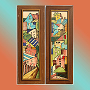 Pair of 1950s Harris G Strong Architectural Scene Art Pottery Tile Wall Plaques