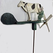 Vintage Folk Art Man Milking Cow Weathervane Whirligig