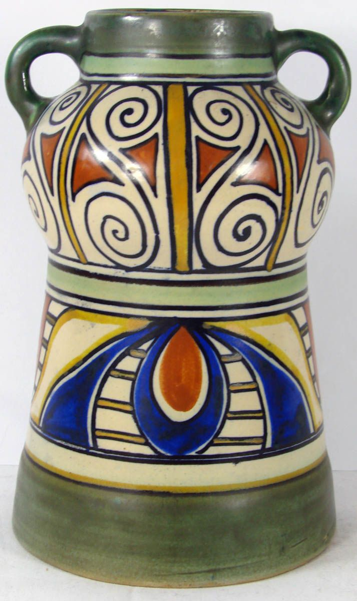 Vintage PZH Gouda Art Pottery Vase Damascus Pattern Unique Design