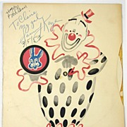 Vintage 1953 Sammy Kaye Autograph on Statler Hotel Children�s Menu