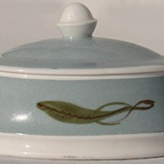 Vintage Susie Cooper Bone China Mustard Jar or Jam Pot Feather /  Leaf Pattern