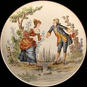 Antique Sarreguimenes France Pottery Plate Courting Couple - 6 inches