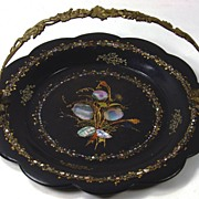 Antique Victorian Papier Mache MOP Handled Fruit Tray Mother of Pearl
