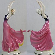 Art Deco Moriyama Japan Porcelain Dancing Lady Figurine