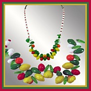 Vintage Glass Fruit Necklace // White Red Beads 22�