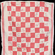 Vintage 1920s Redwork Embroidery Childs Quilt // 54 embroidered squares